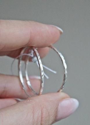 Серебряные серьги кольца 30 мм новые