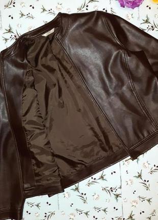 🎁1+1=3 стильная кожаная коричневая женская куртка marks&spencer, размер 50 - 529 фото