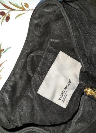🎁1+1=3 фирменная черная кожаная куртка из натуральной кожи vero moda, размер 46 - 486 фото