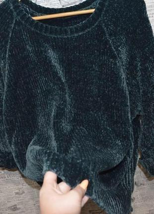 Изумрудный велюровый свитер большой размер оверсайз, изумрудный свите