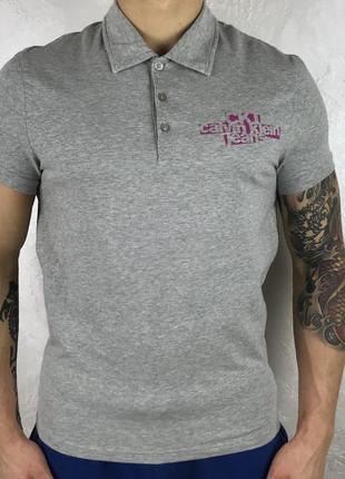 Серая хлопковая футболка calvin klein jeans стрейчевая оригинал поло