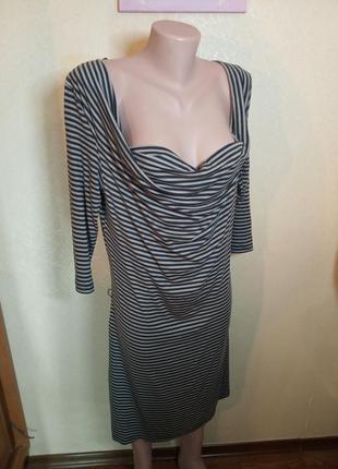 Платье в полоску размер l (ель) . вырез лодочка. на большую грудь.