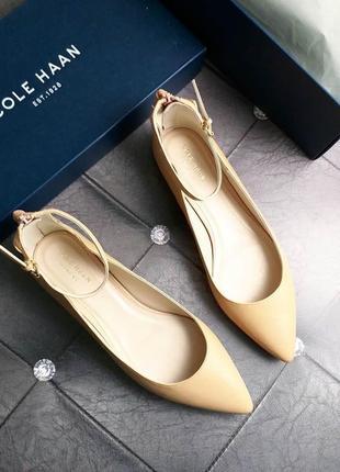 Cole haan оригинал бежевые кожаные туфли, балетки- лодочки бренд из сша