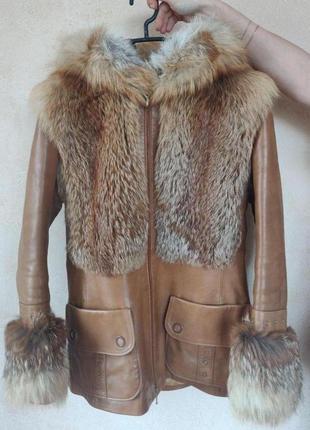 Куртка - зима (на синтепоне), нат.кожа, мех- лиса!