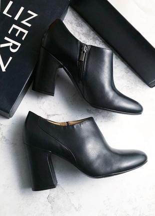 Naturalizer оригинал черные кожаные ботинки, ботильоны на широком каблуке