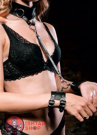 Чокер с поводком и наручниками из эко кожи