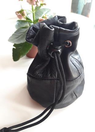 Кожаный кисет на завязке / мешочек - кошелек для мелочей