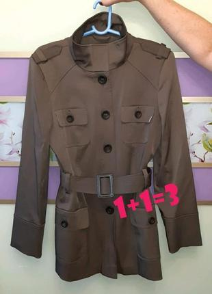 🎁1+1=3 фирменное кофейное пальто тренч с карманами f&f, размер 48 - 50