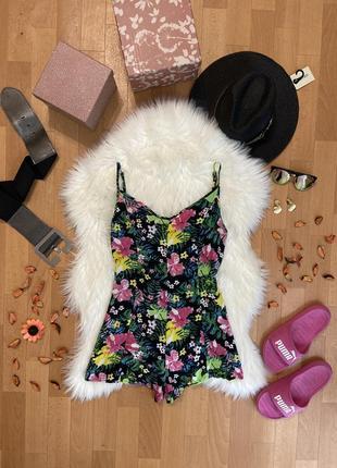 Актуальный летний комбинезон с шортами цветочный принт №228max