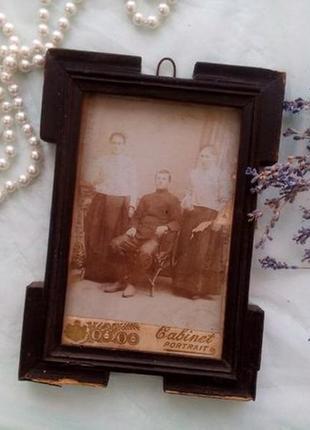 Картина фото в рамке паспарту 1895-00 гг cabinet portrait антикварная