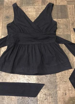 Льняная блуза с поясом-бантом benetton