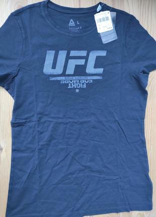Качественная оригинальная черная футболка reebok ufc logo tee