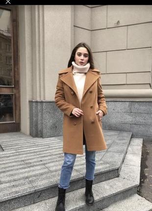 Пальто пиджак из шерсти с кашемиром коричневое новое