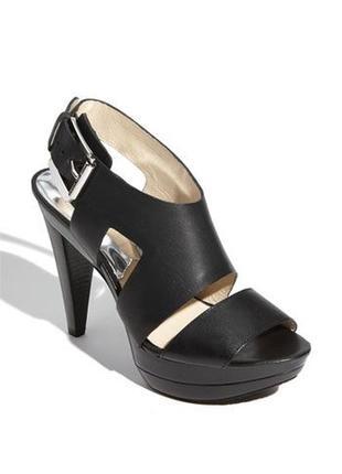 Кожаные босоножки оригинал michael kors carla black sandal heels размер 39.5-40