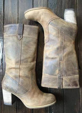 Ботинки сапоги трубы на каблуке из кожи крейзи хорс timberland демисезон, 39-40