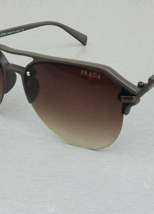 Prada очки капли унисекс солнцезащитные коричневые