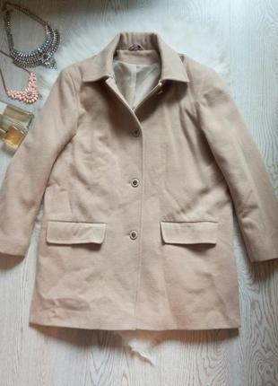 Бежевое бойфренд пальто кашемир с карманами на пуговицах теплое шерстяное деми зимнее