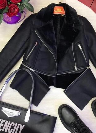 Женская кожаная куртка косуха zara