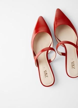 Zara мюли оригинал красные новые