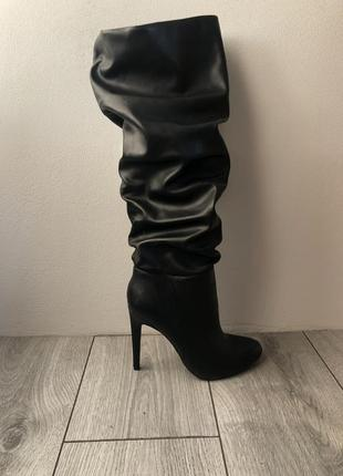 Чоботи zara, сапоги zara, черевики на каблуку