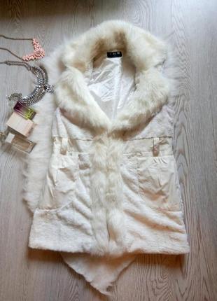 Белая искусственная длинная меховая жилетка с воротником карманами накидка безрукавка