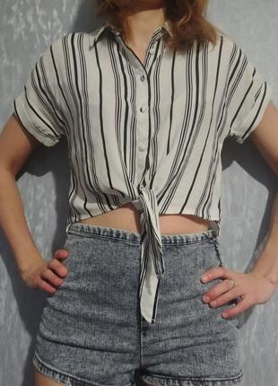 Стильная укороченная рубашка new look р хс-с