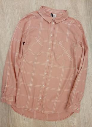 Классная розовая в клетку рубашка оверсайз от h&m, размер s.