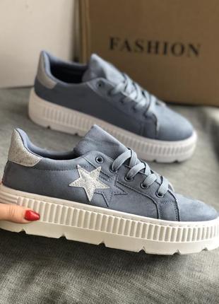 Голубые спортивные криперы, кроссовки , туфли на платформе