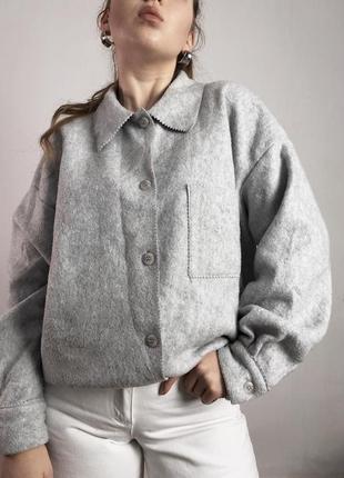 Флисовая серая плотная рубашка