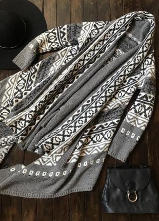 Вязаный тёплый кардиган свитер красивой расцветки f&f, m-l