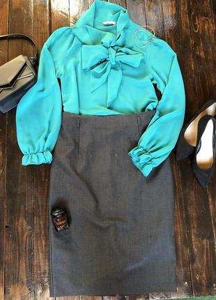 Шифоновая блуза блузка с воротником бантик new look, m-l