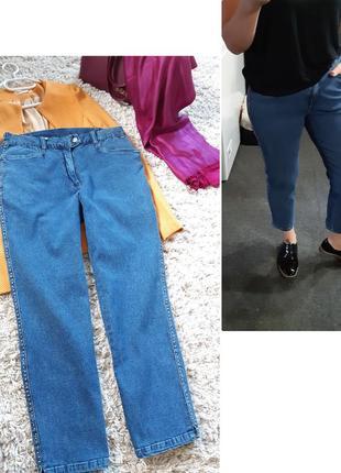 Стильные комфортные укороченные джинсы на резинке, р. 10-14