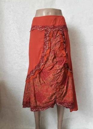 Фирменная per una юбка-миди с 100% хлопка с вышивкой и кружевом, размер л-ка
