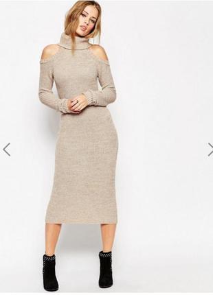 Свободное платье-джемпер asos в рубчик с открытыми плечами
