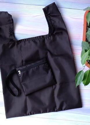 """Сумка-пакет """"маечка"""" для покупок с чехлом, эко сумка, торба, сумка шоппер, черный1 фото"""