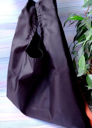 """Сумка-пакет """"маечка"""" для покупок с чехлом, эко сумка, торба, сумка шоппер, черный4 фото"""