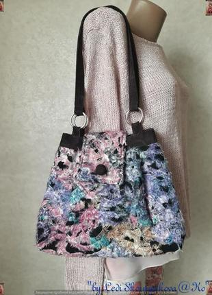Новая оригинальная сумка с трикотажа и вельвета с боковыми кнопками
