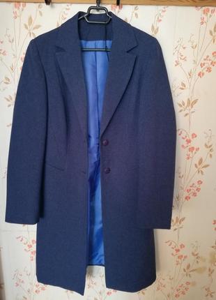 Пиджак длинный темно-синий