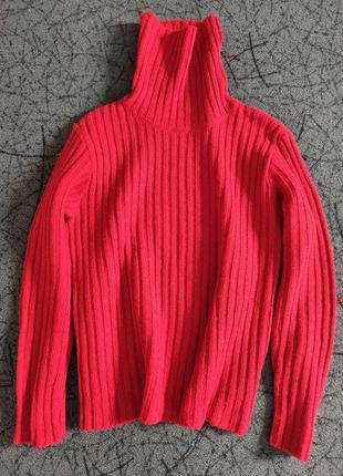 Свитер под горло гольф красный шерсть/светр червоний шестяний