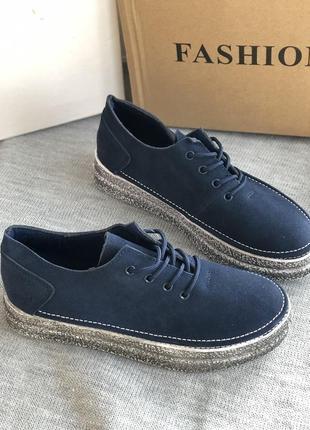 Натуральные синие мокасины, туфли из замши