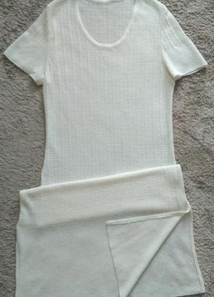Платье молочного цвета белорусский трикотаж р.38