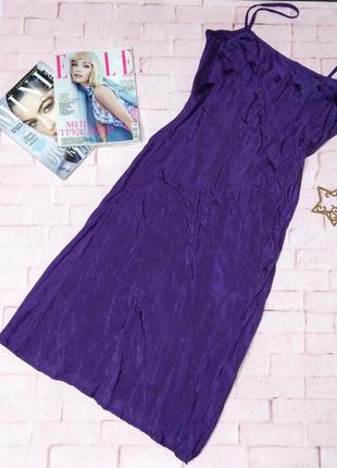 Платье сарафан комбинация в бельевом стиле из мокрого шелка
