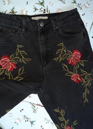 🎁1+1=3 плотные зауженные узкие мом mom джинсы с высокой посадкой topshop, размер 44 - 463 фото