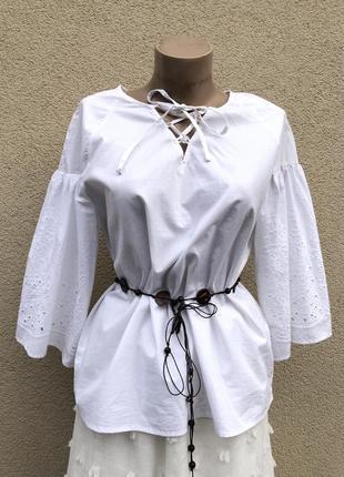 Белая,кружево-шитьё,блуза реглан,рубаха,воланы,этно бохо стиль,хлопок,индия