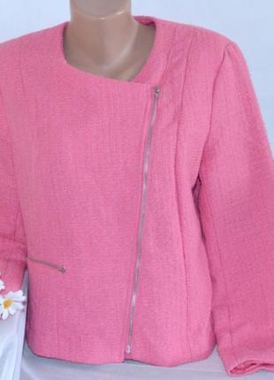 Брендовая розовая куртка косуха на молнии с декоративным карманом h&m2 фото