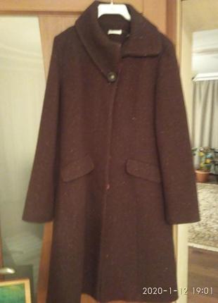Красивое шерстяное пальто шерсть франция, promod, р. 10-12