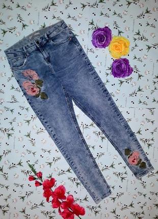 🎁1+1=3 узкие зауженные высокие плотные джинсы скинни с вышивкой george, размер 44 - 463 фото