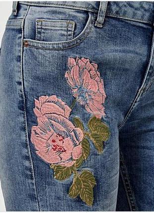🎁1+1=3 узкие зауженные высокие плотные джинсы скинни с вышивкой george, размер 44 - 466 фото