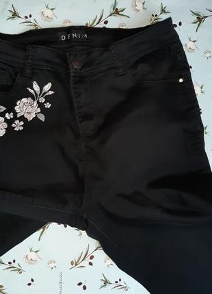 🎁1+1=3 черные зауженные узкие черные джинсы с высокой посадкой peacocks, размер 50 - 522 фото