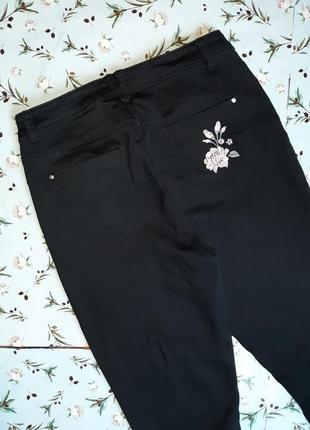 🎁1+1=3 черные зауженные узкие черные джинсы с высокой посадкой peacocks, размер 50 - 523 фото